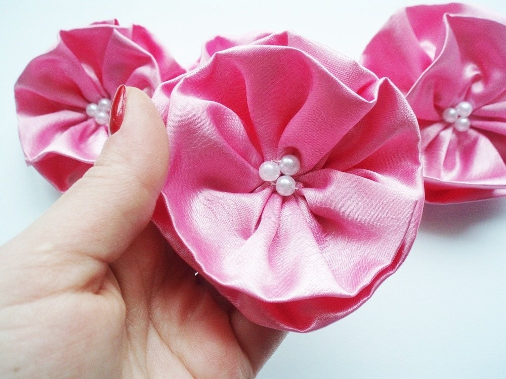 Candy Pink Flowers Handmade Appliques by BizimSupplies on Etsy from etsy.com
