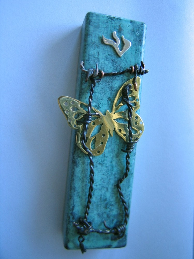Butterflies of Terezin Mezuzah Case