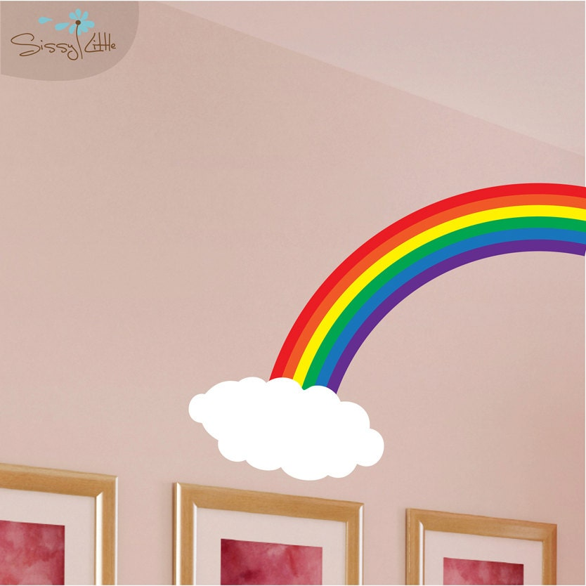 Rainbow Wall Decor Stickers : Rainbow cloud vinyl wall decal by sissylittle on etsy