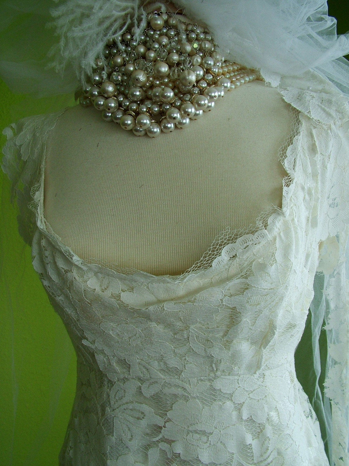 Chantilly lace wedding gown handmade bridal gown by for Chantilly lace wedding dress