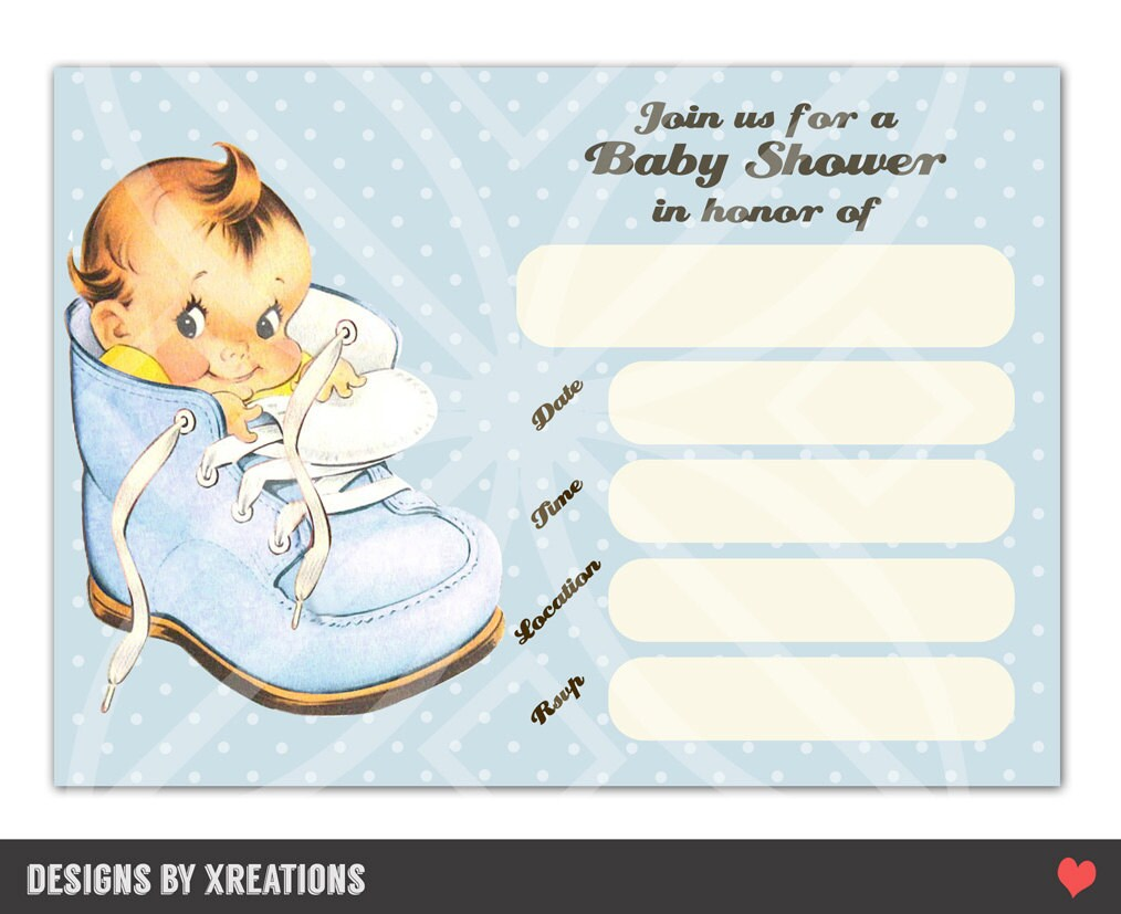 Boy baby shower blank templates cute vintage baby boy shower invitation digital template printable filmwisefo