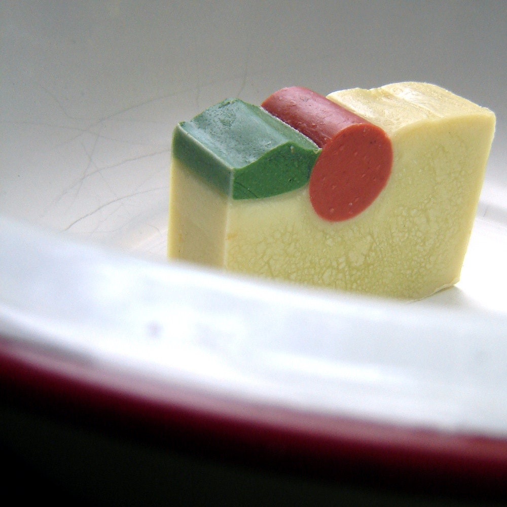 Cherry Vanilla handmade vegan soap -with a nutty CrUnch Beautiful artisan bar soaps
