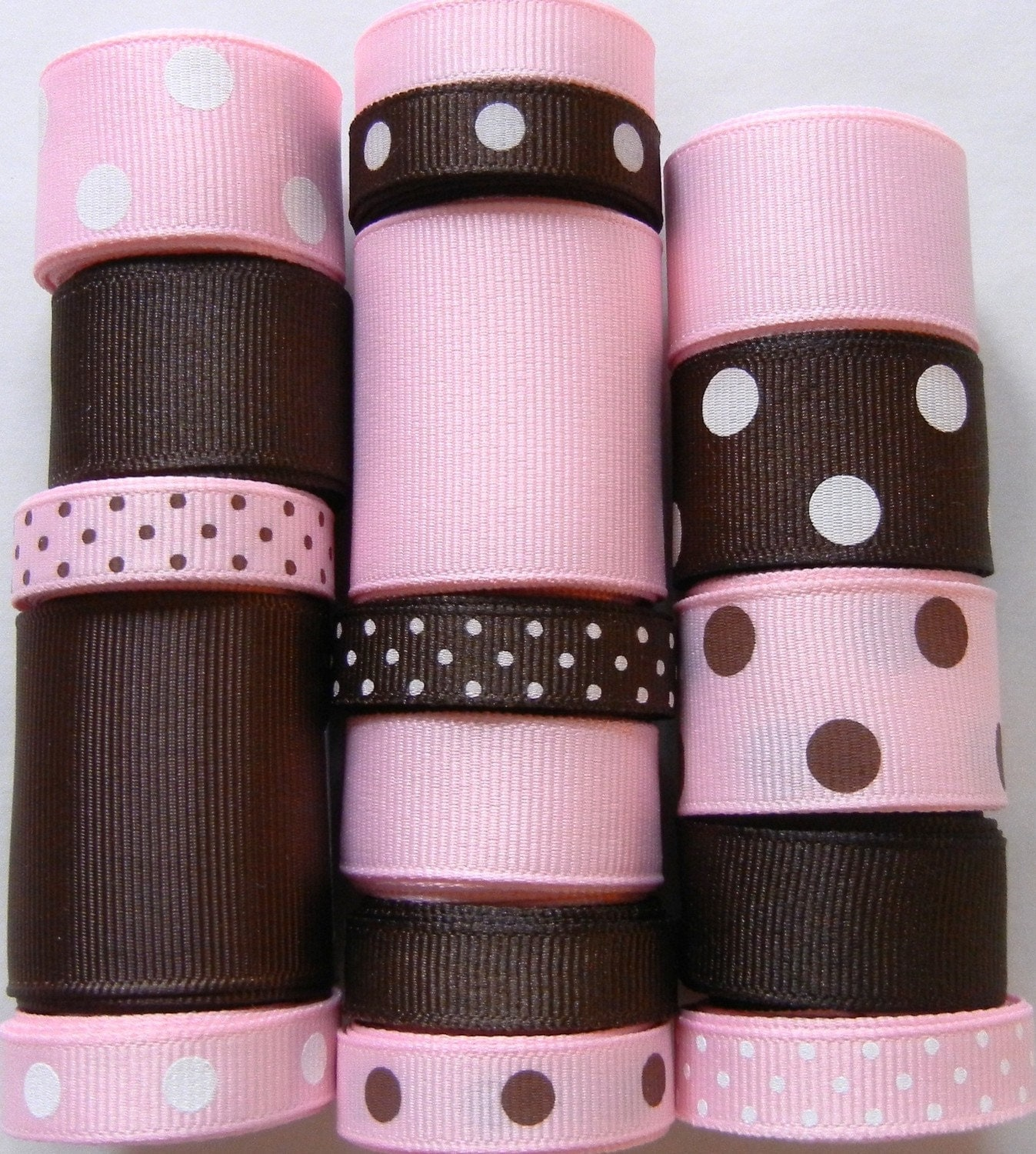 Light Pink/Brown Ribbon Wholesale Lot 17 Yards Grosgrain Solid and Polka Dot Ribbon - You Receive 1 yard each