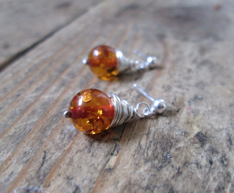 Amber Earrings  Amber Jewelry Stud Earrings Amber Studs Jewellery