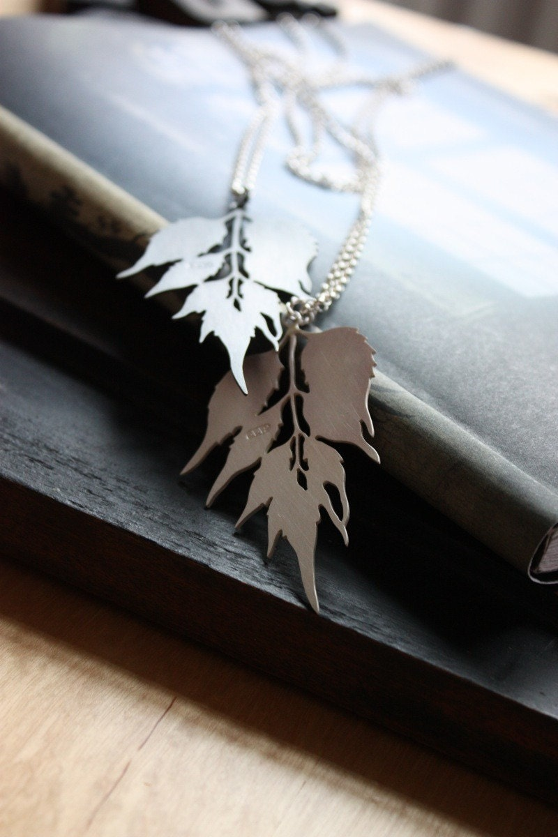 Oxidised Silver Leaf Silhouette Necklace...