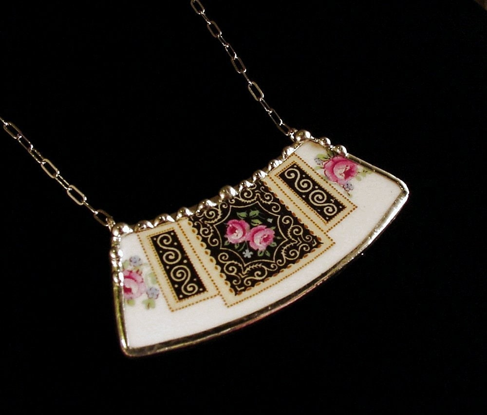 Broken china jewelry necklace vintage pink rose china made from a broken plate