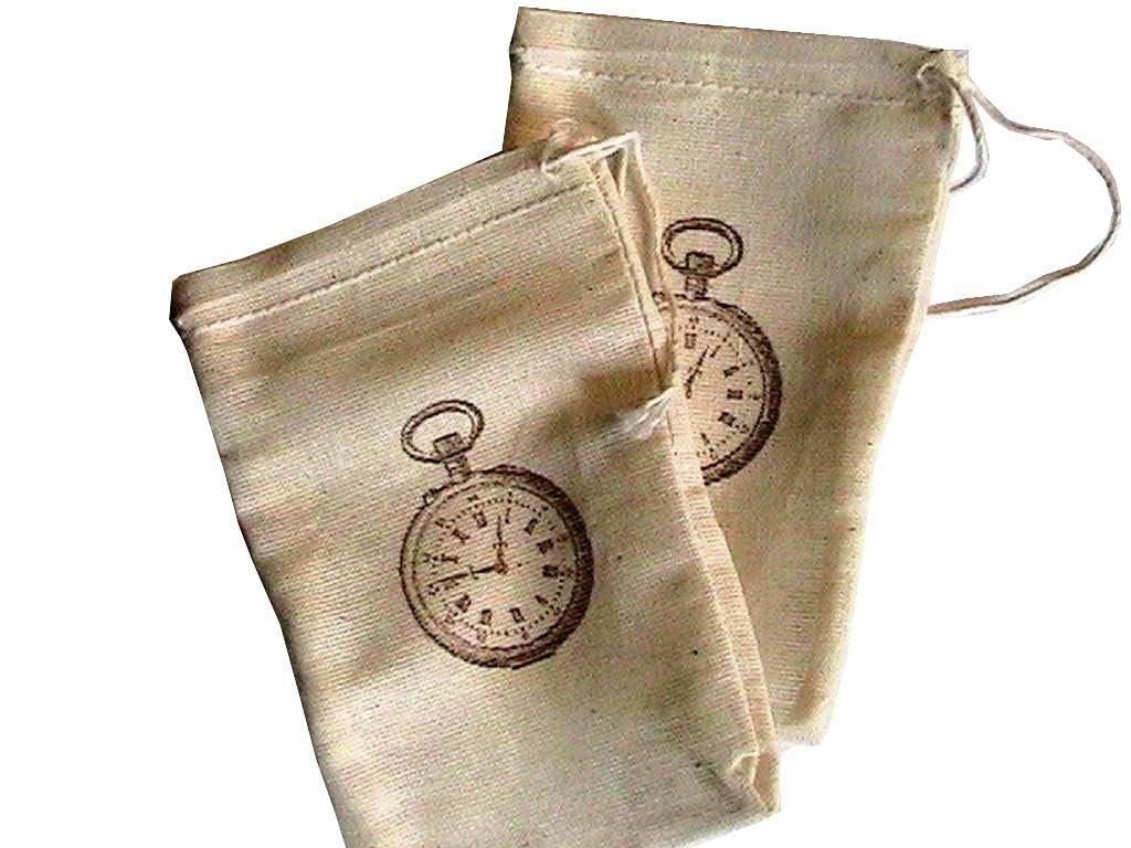 10 3x5 Vintage Pocket Watch Unbleached Muslin  drawstring bags/ pouches Great for Party favors Herbs Soaps etc WHOLESALE CRAFT SUPPLY