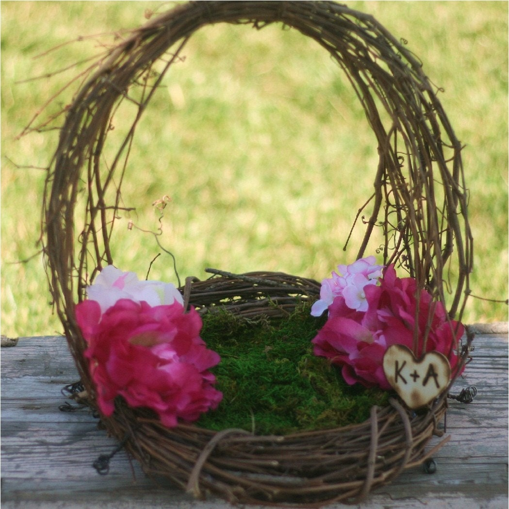 Personalized Flower Girl Basket Woodland Rustic Outdoor Summer Chic Grapevine