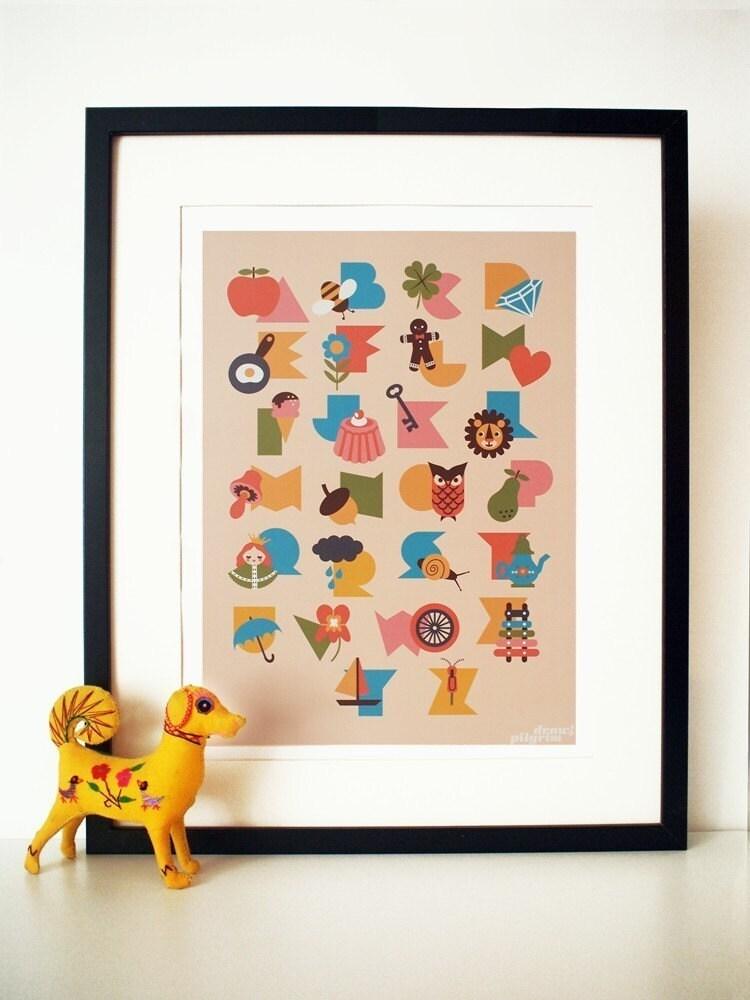 Alphabet poster print, in 'Sundae' colorway