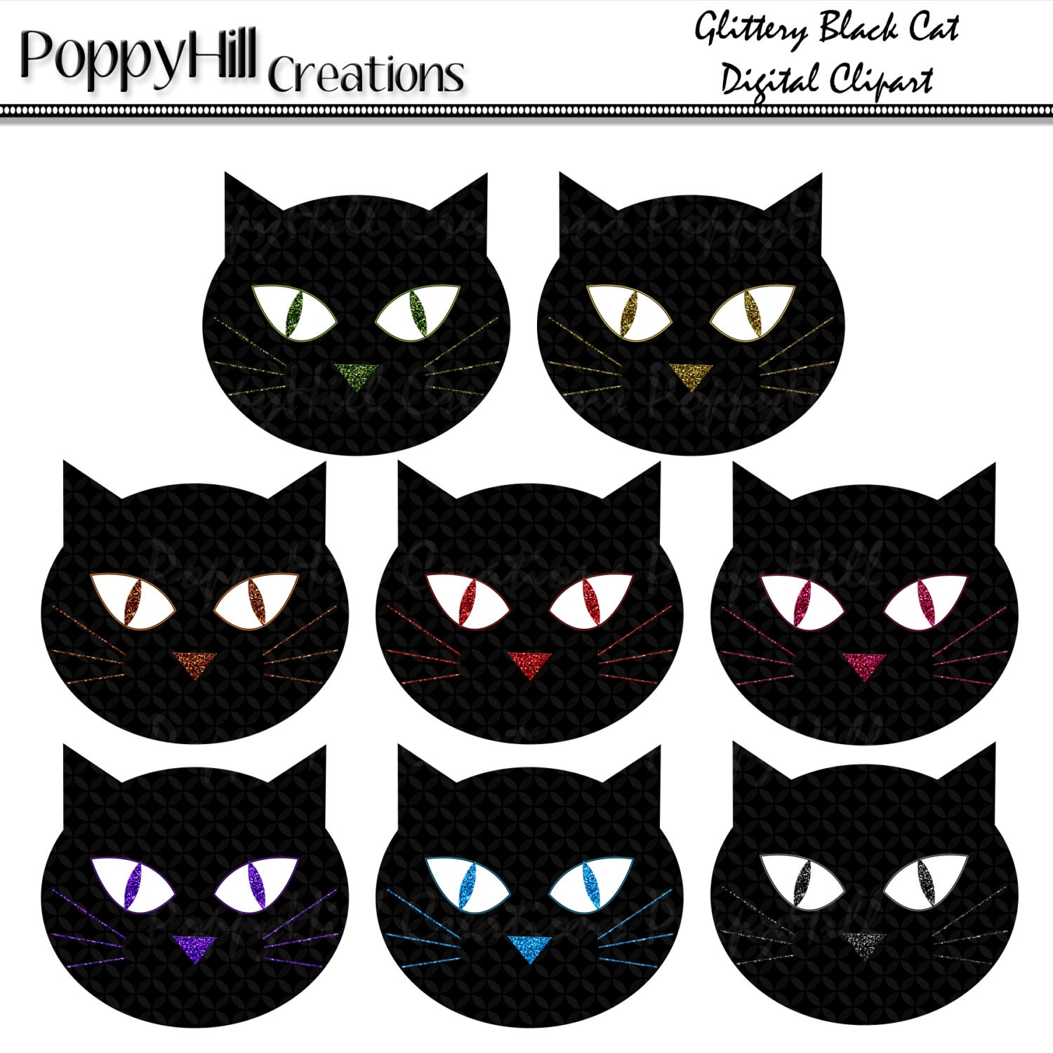 INSTANT DOWNLOAD - Printable Glittery Black Cat Digital Clip Art - For Commercial and Personal Use - Digital Design - PoppyHillCreations