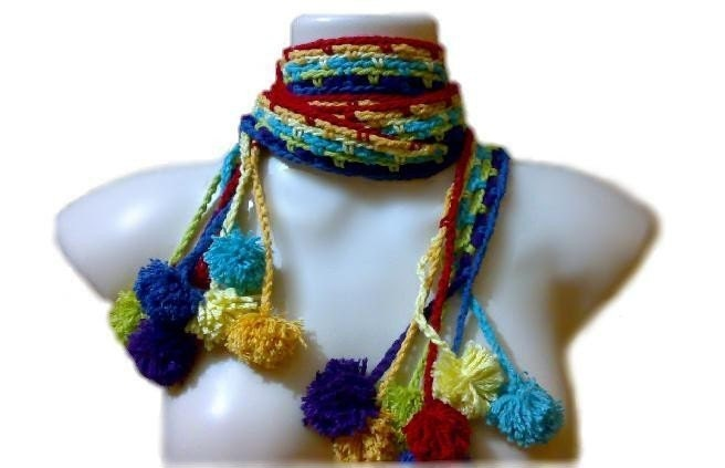 Easy Crochet PDF PATTERN - Rainbow Hippie Chick Scarf / Headband / Belt