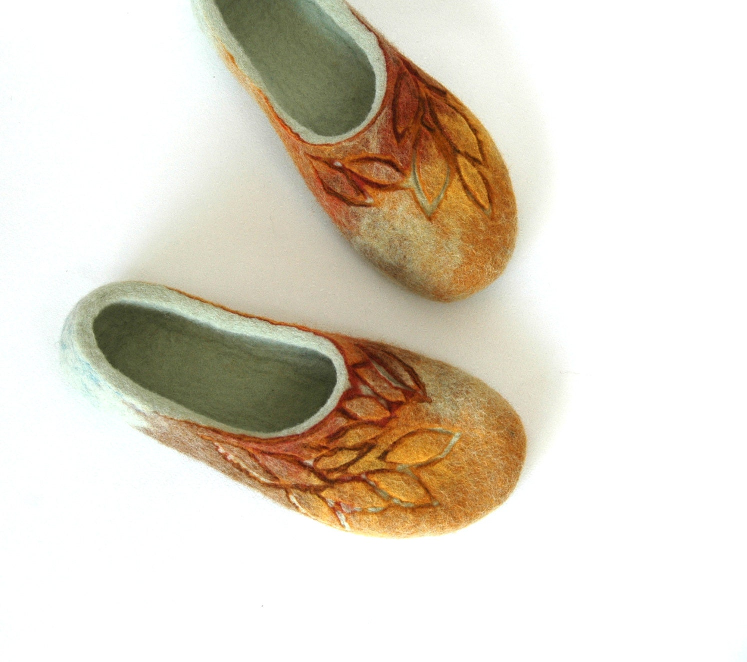 Hand felted slippers Golden Autumn natural brown yellow green - jurgaZa