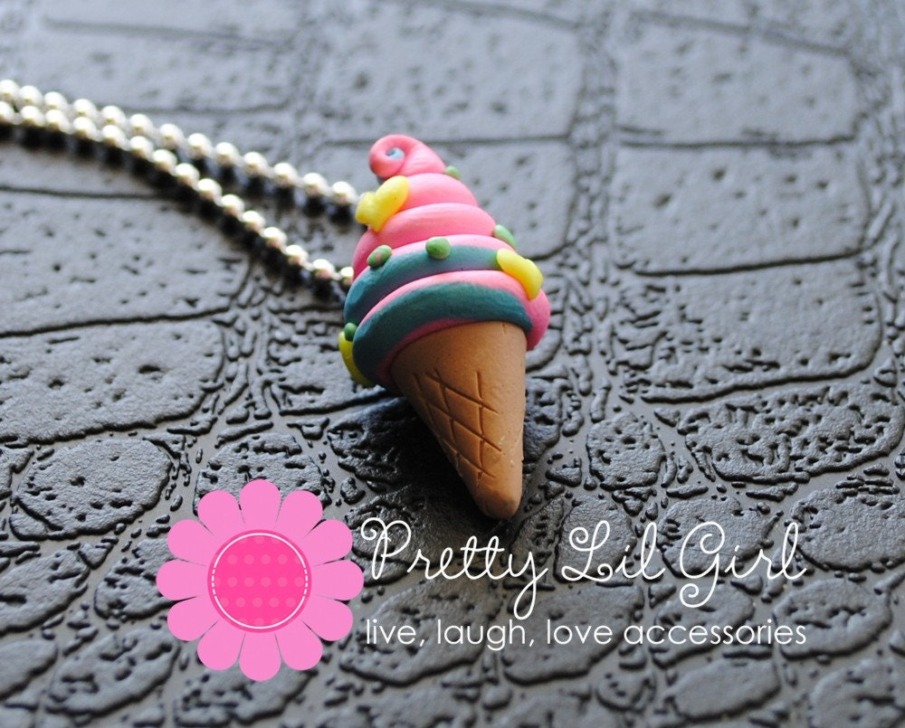 GRAND OPENING SALE --- Pink and Blue Ice Cream Cone Charm Necklace