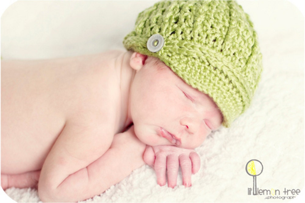 Green Newsboy Hat and Diaper Cover