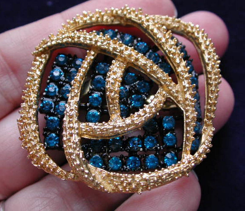 50s Blue Rhinestone Brooch Abstract MCM Pin Gorgeous - MorningGlorious