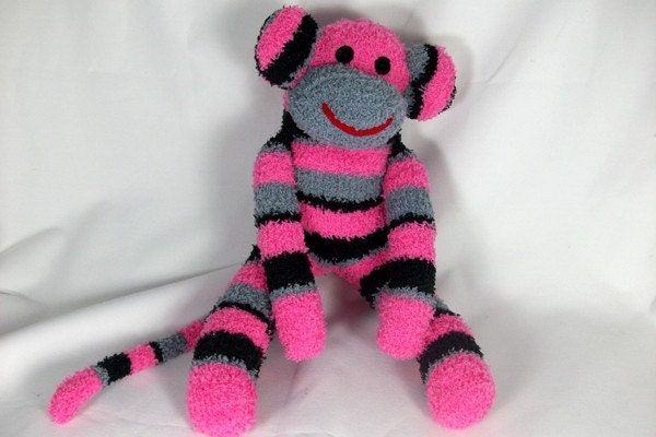 Stuffed animal sock monkey  Made to order