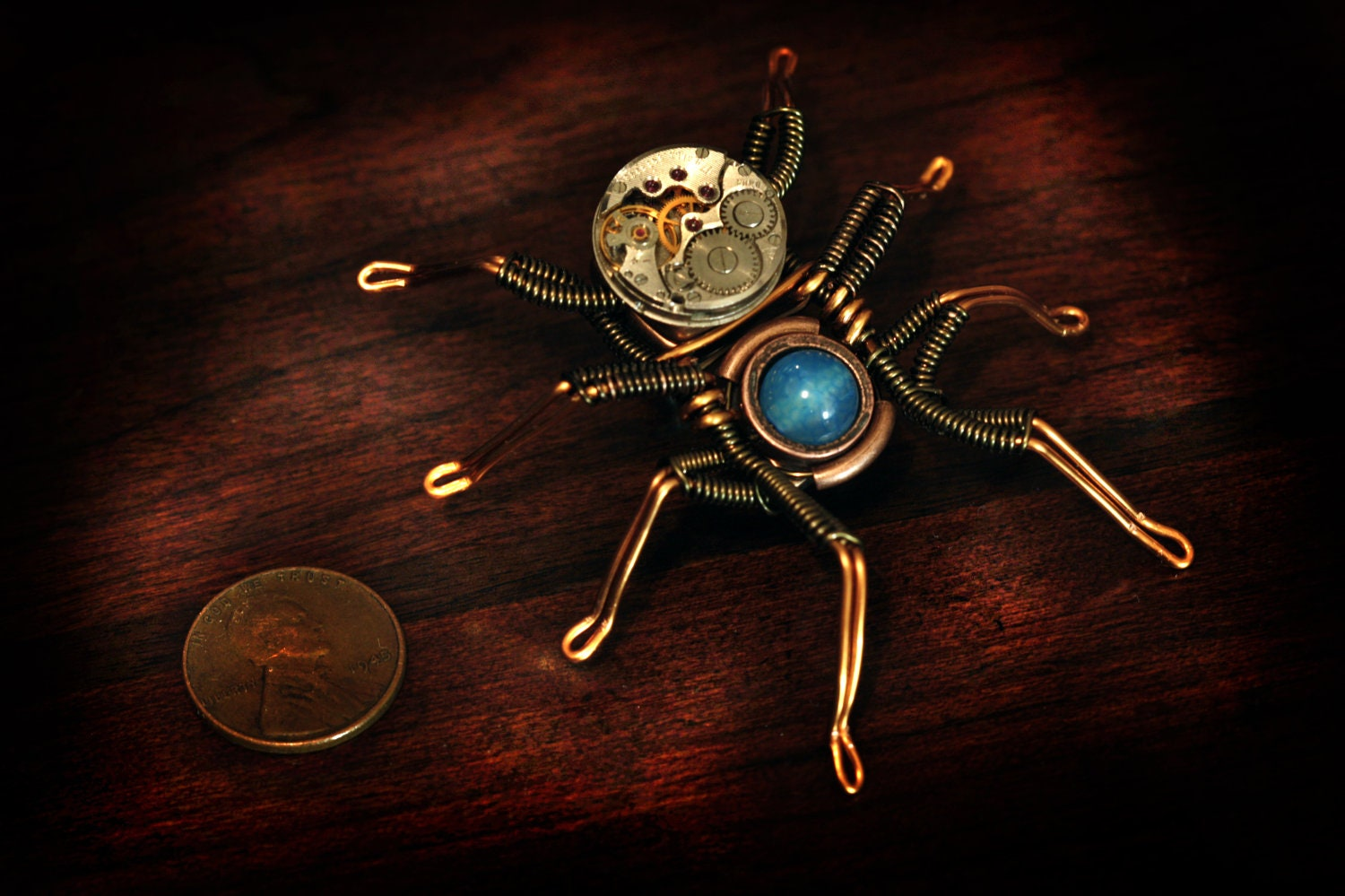 Steampunk Spider Lapel pin Sculpture with blue dragon veins agate and antique watch movement