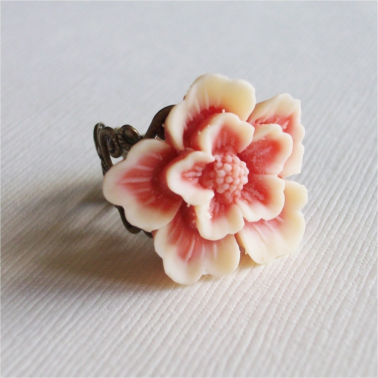 Peach and Cream Cherry Blossom Flower Sakura Ring, FREE SHIPPING ETSY