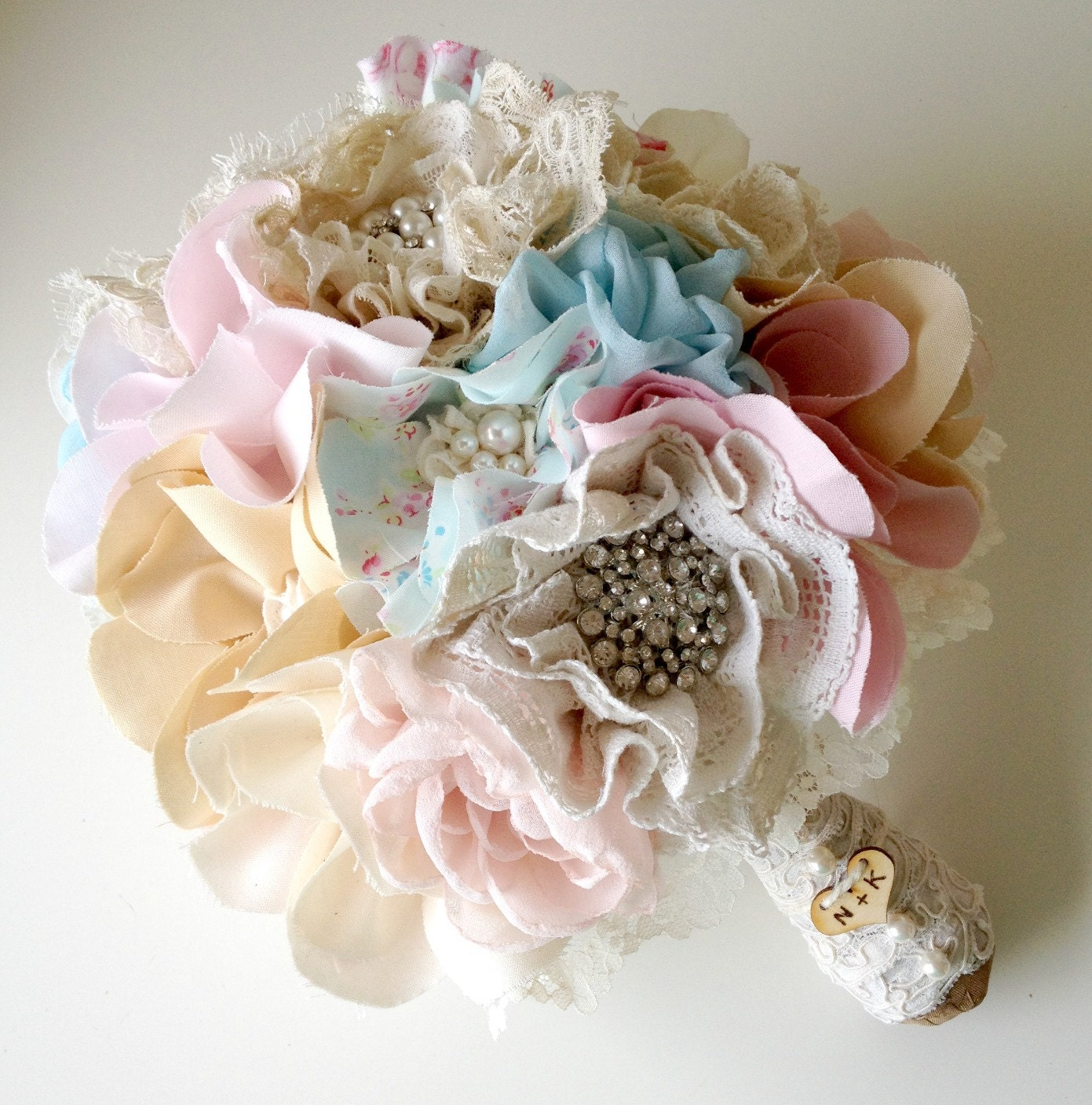 Items similar to fabric wedding bouquet shabby chic for Bouquet chic
