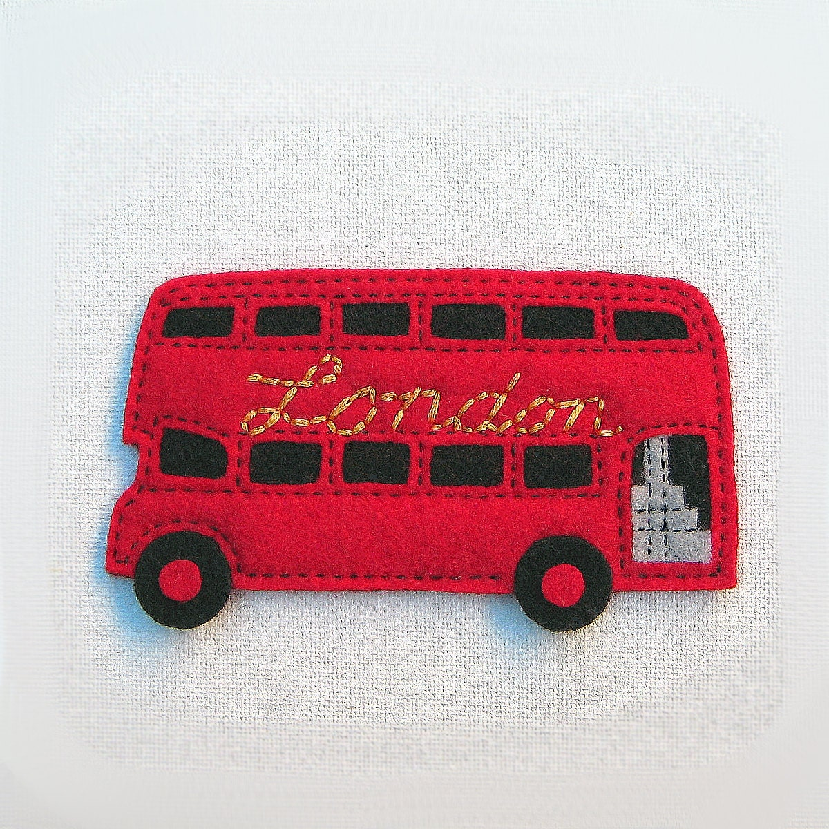 London Double Decker Bus Red Felt Fridge Magnet - moddyboy80