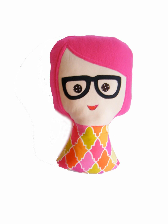 "Plush Doll - Soft stuffed toy or cushion - ""Nerdy Nadine"" - orange pink - retro doll - QuiltedBlissByNadine"