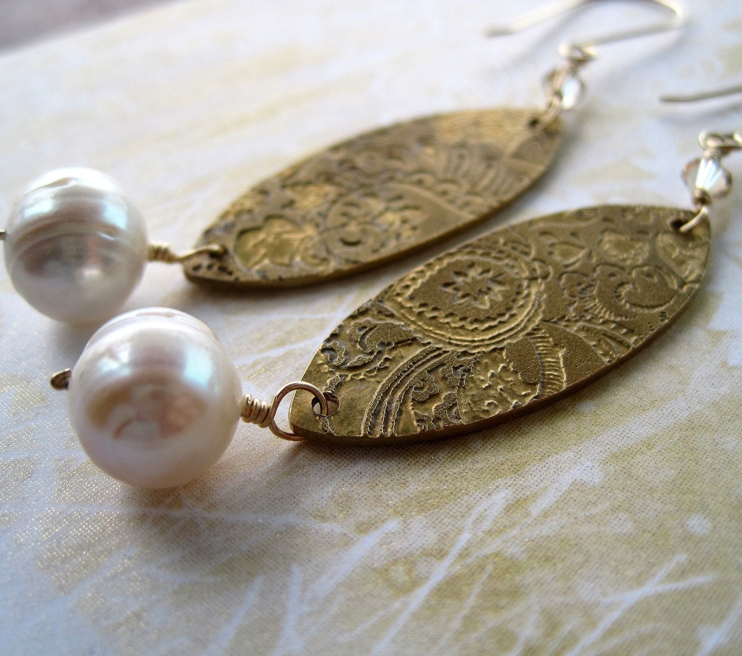Elegant etched brass and pearl earrings by BrookeJewelry on Etsy from etsy.com