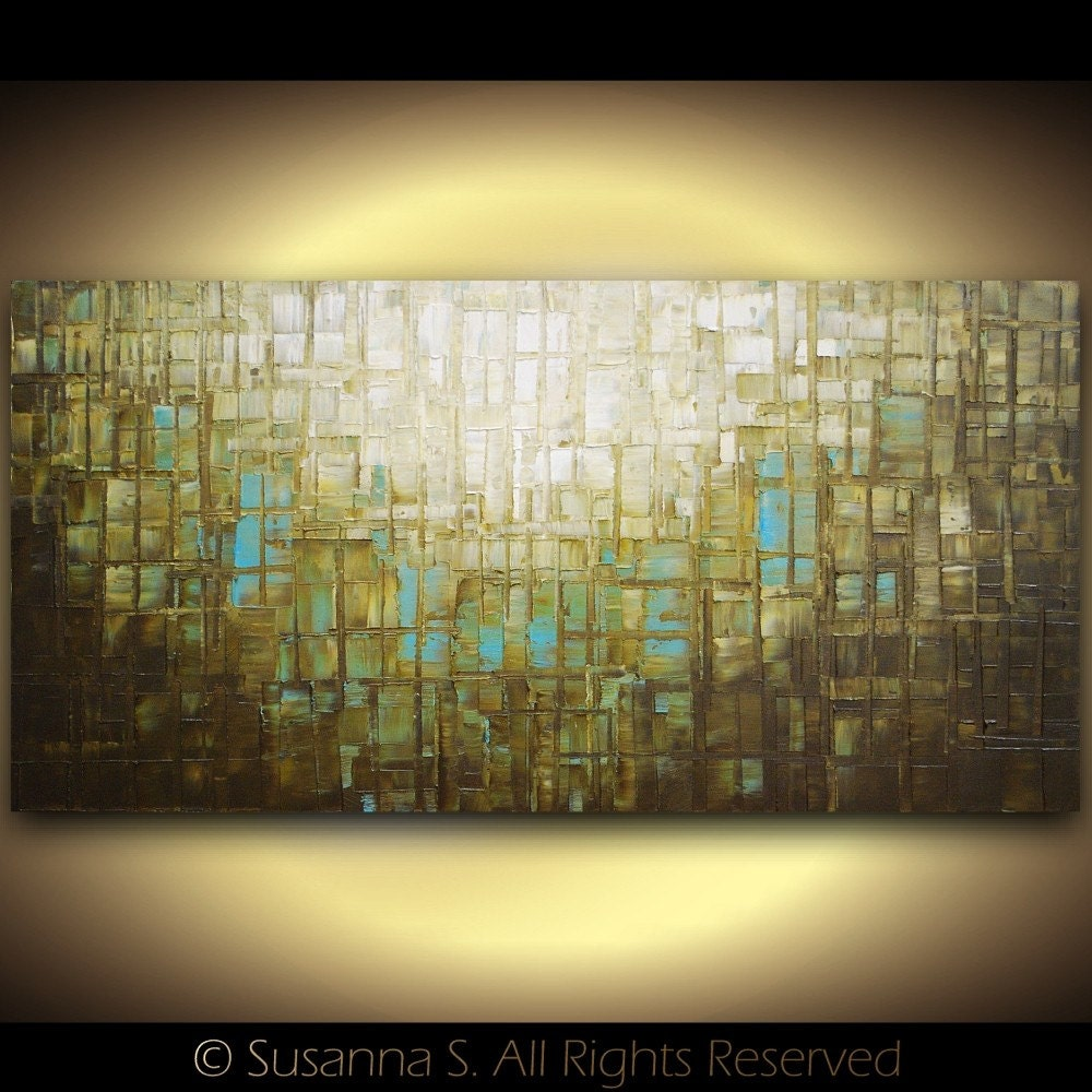 Abstract brown blue modern textured palette knife oil impasto painting fine art by Susanna large 48x24