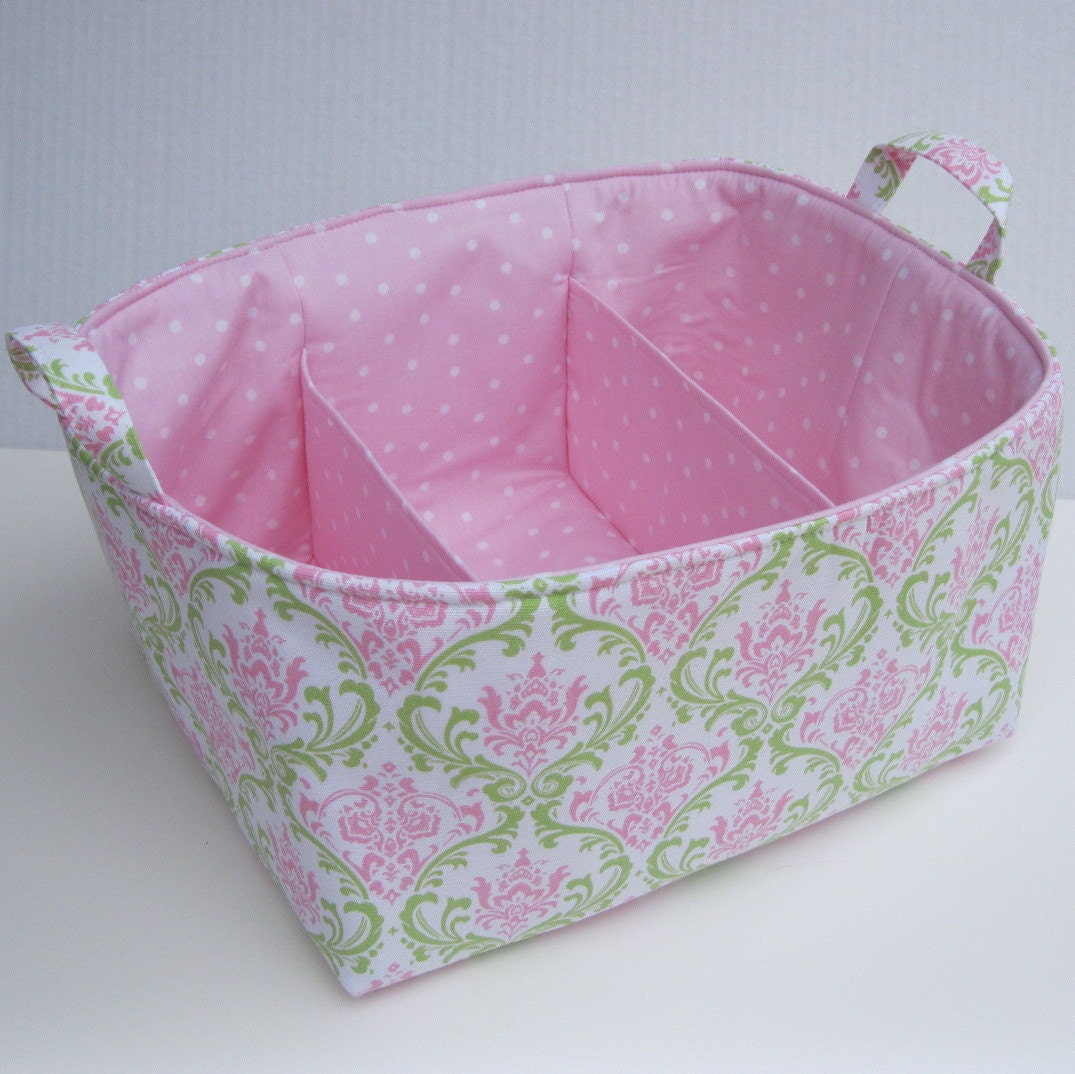 Diaper Caddy - Storage Container Organizer Bin Basket - Large Size -  Separators - 3 Compartments  - Pink Green Damask Fabric