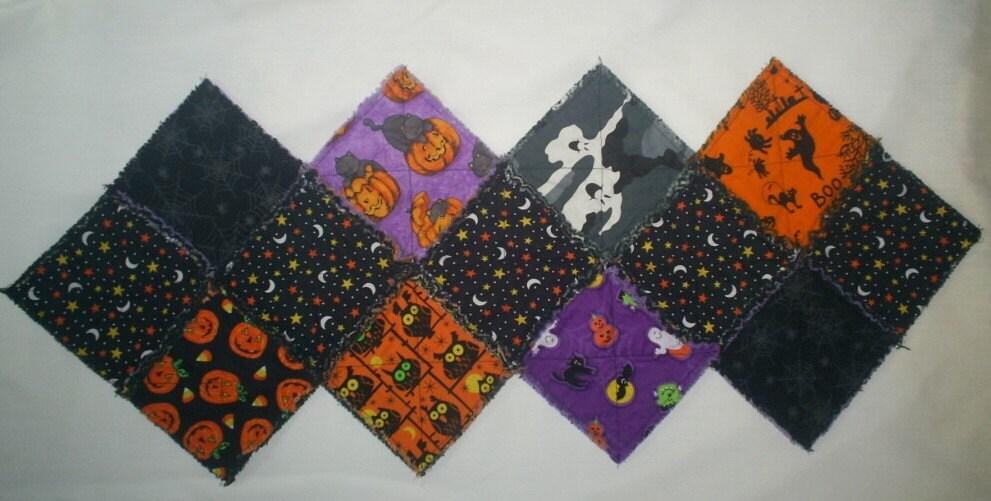Halloween Rag Quilt Table Runner MHA