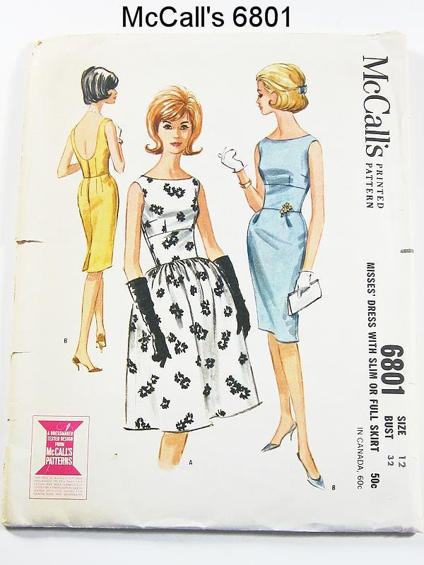 Vintage 60s Dress Pattern McCall's 6801 - Misses' Dress with Slim or Full Skirt - SZ 12/Bust 32