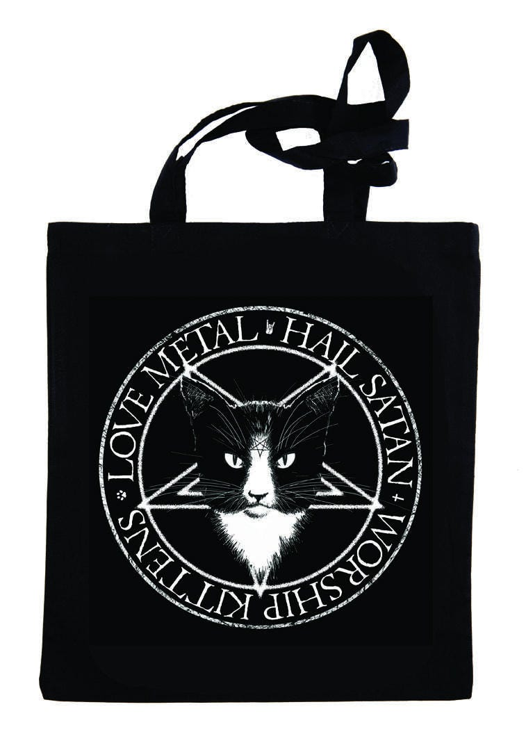 Love Metal Hail Satan Worship Kittens black tote bag