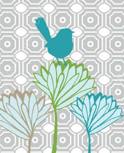 items similar to teal bird on lotus blooms in tan  lime