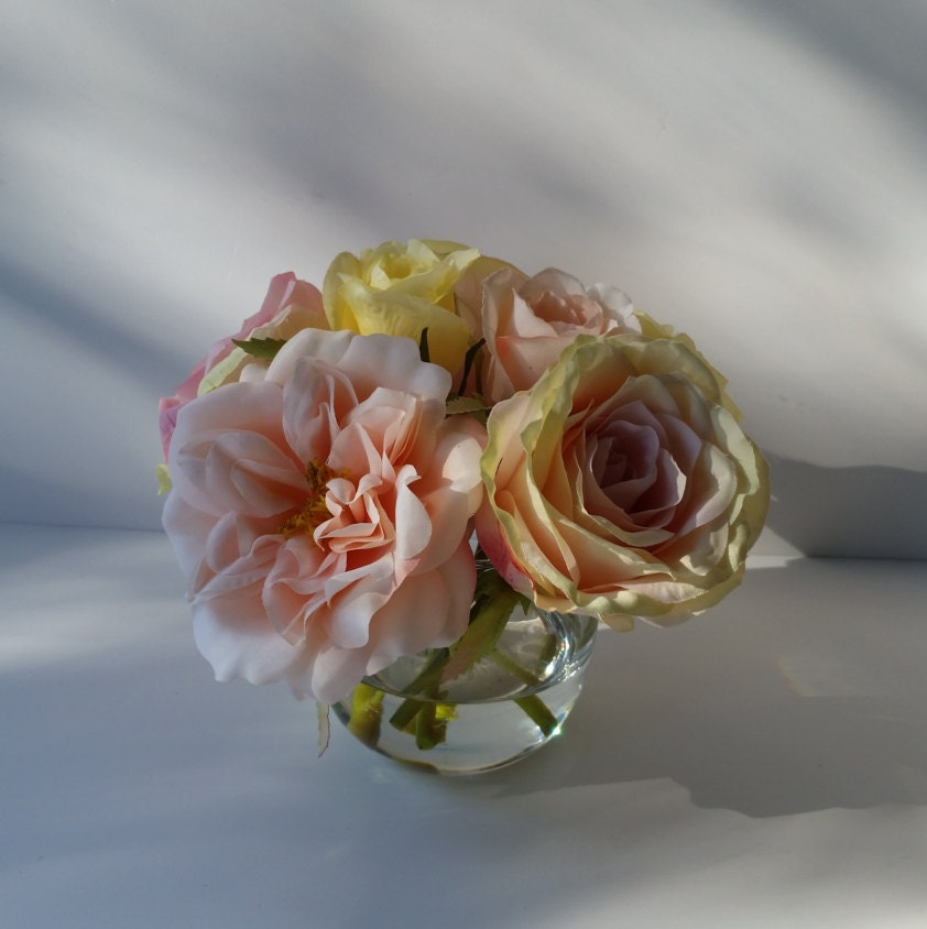 Pink silk roses Silk flower arrangement Apricot roses Sphere glass vase Artificial mixed garden roses Faux roses Mothers Day Gift ideas