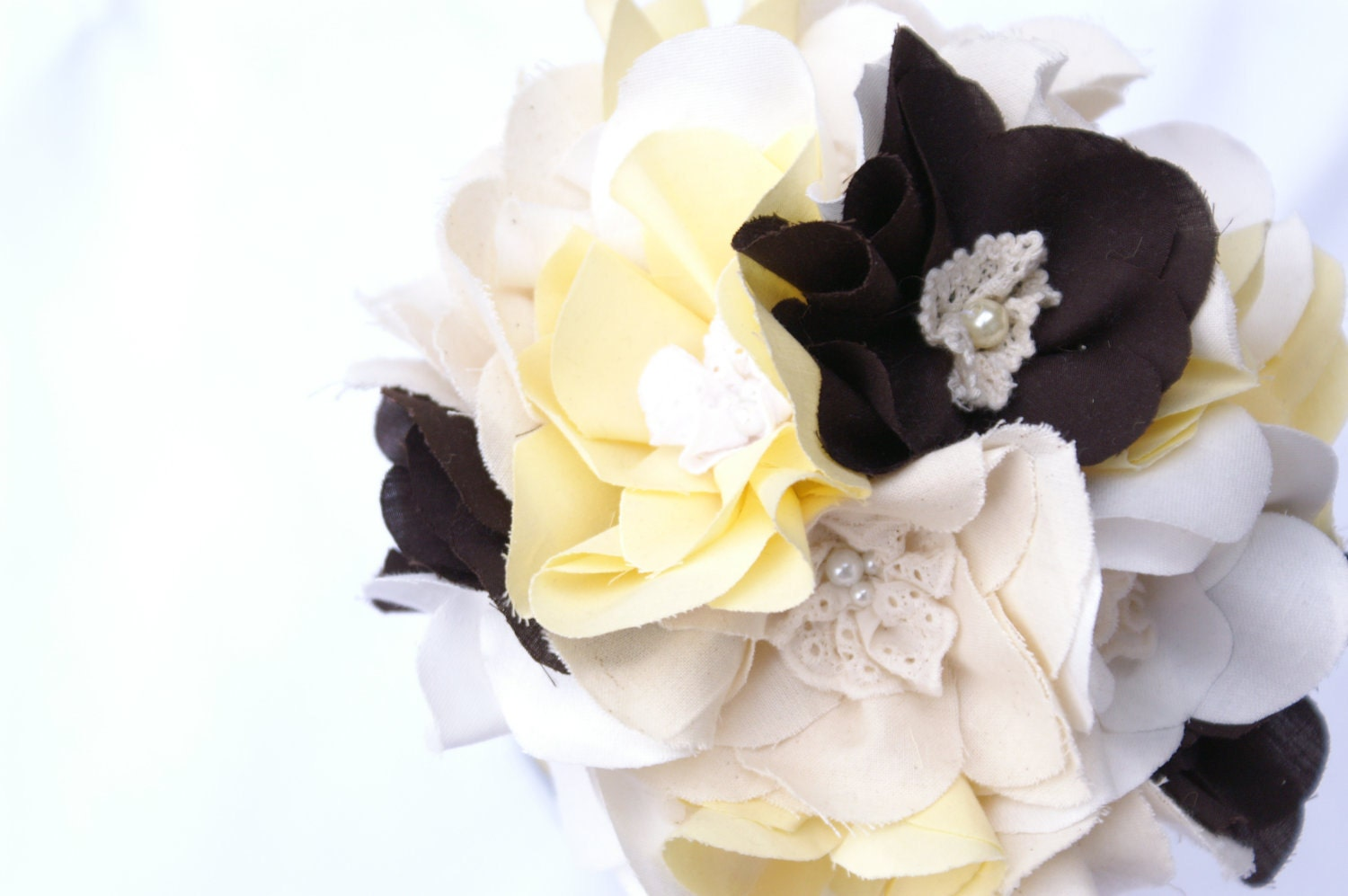Fabric bridal bouquet, Handmade weddings, Flowers, Yellow and brown, Cotton magnolias, Ready to ship
