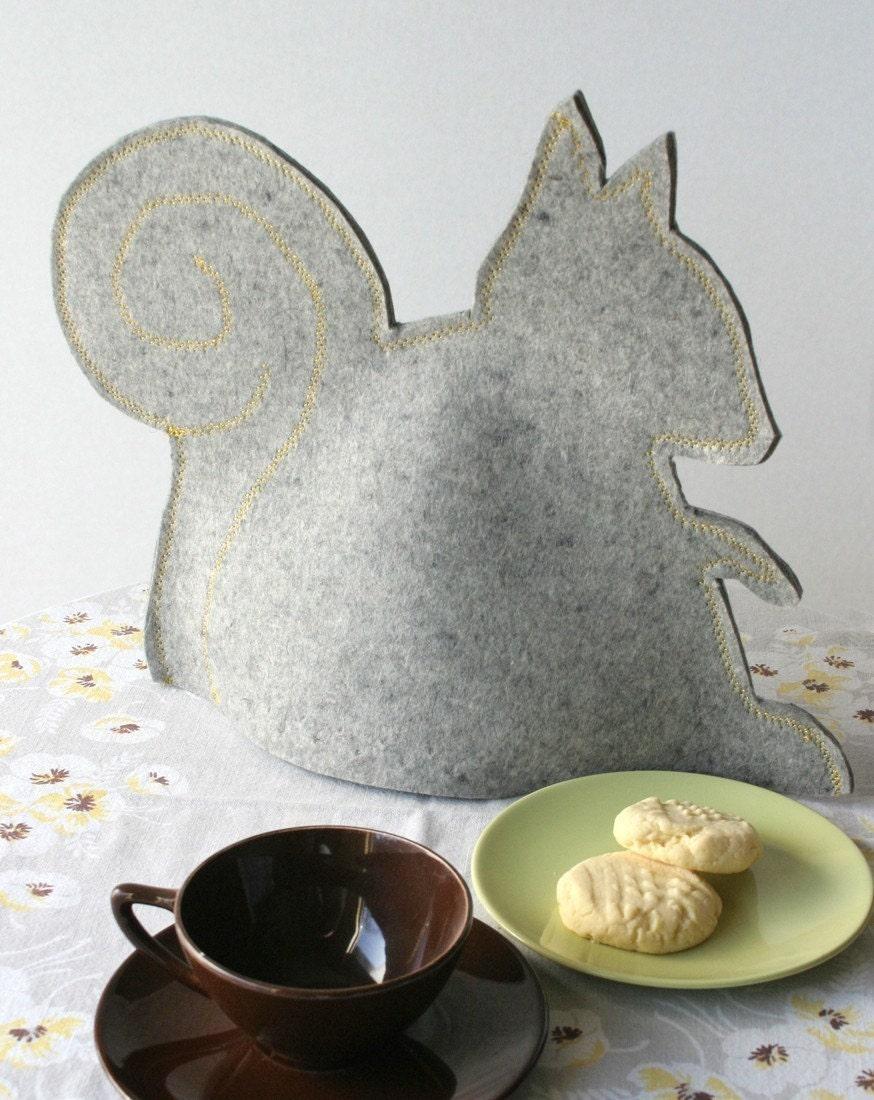 Gray Felted Wool Squirrel Tea Cozy