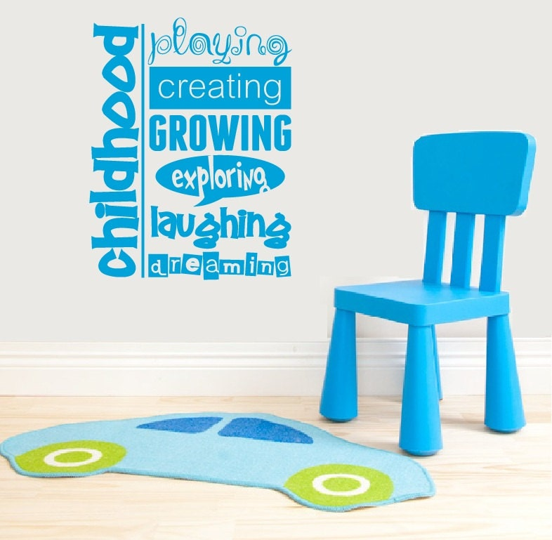Vinyl Wall Art Quotes For Nursery : Nursery decor vinyl wall quote childhood playroom by