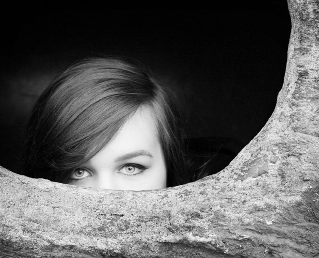 Black and White Photography - Hide 'n Seek - 8x10 Fine Art Photograph of Girl - Portrait Photography, Mysterious Eyes - FeatheredDragonfly
