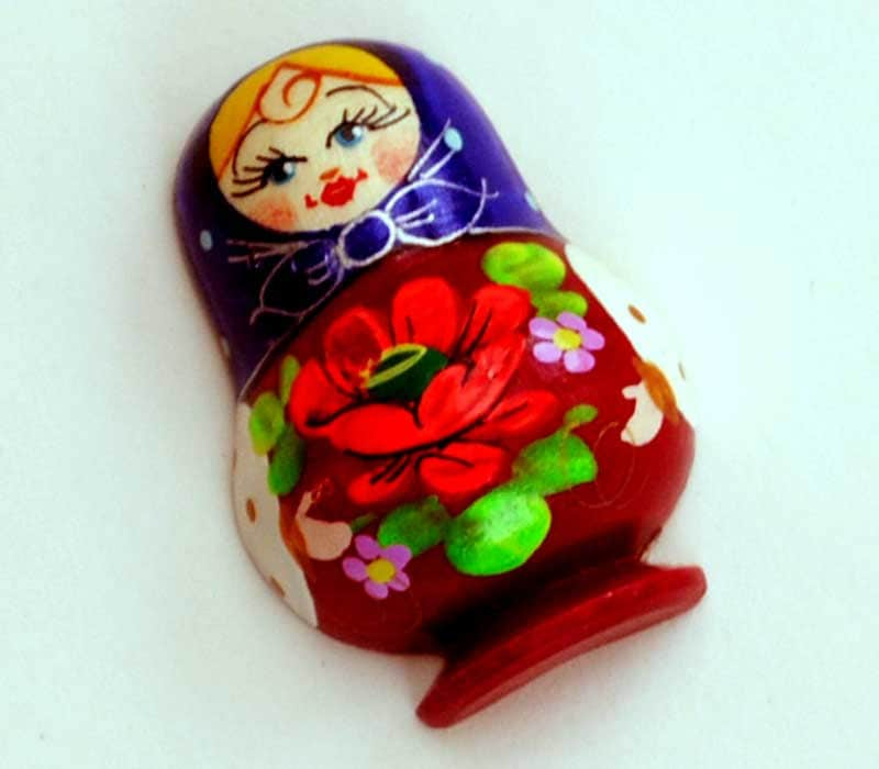 Russian Wooden ecofrendly Doll Magnet -  Matreshka matryoshka babushka keychain