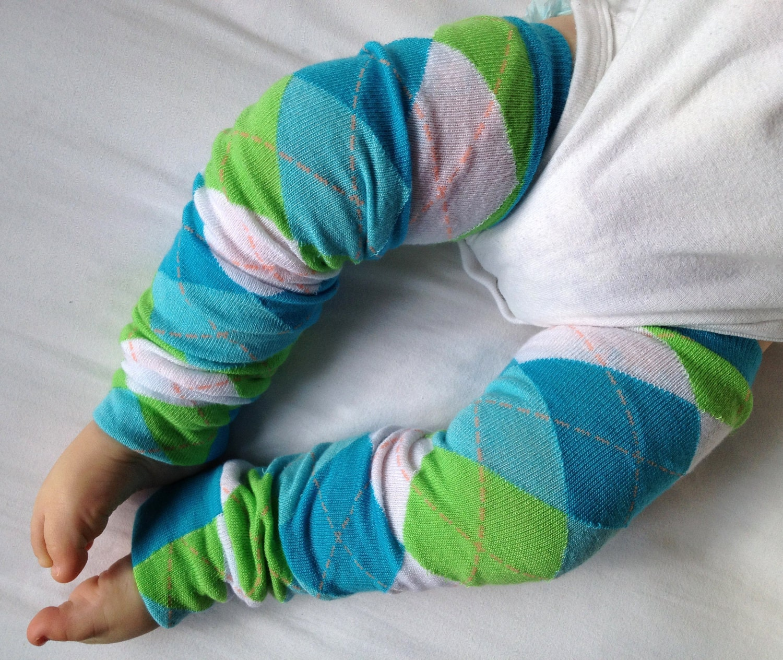 Spring Argyle Baby Legs / Boy Leg Warmers