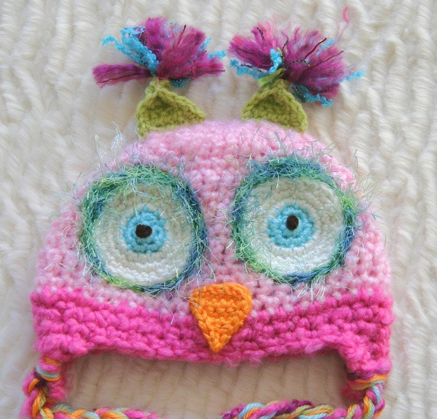 Pink Owl Hat   PICK A SIZE