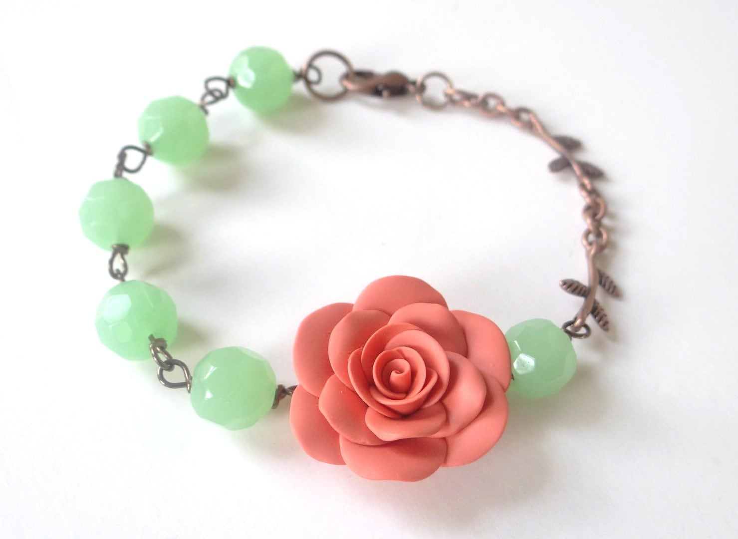 Coral Rose Bracelet, Coral Rose Bridesmaid Bracelet, Flower Bracelet, Bridal Jewelry,