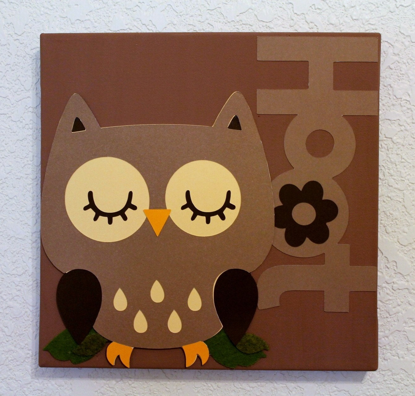 Owl baby room decorations photograph wall decor brown owl for Baby owl decoration