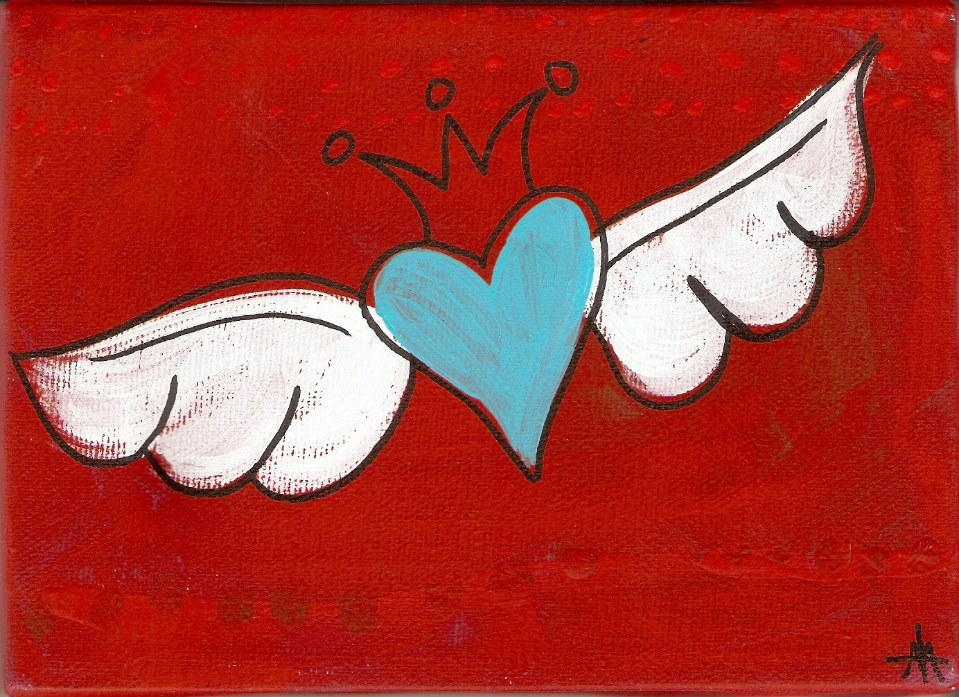 50% off Turquoise winged heart with crown in red