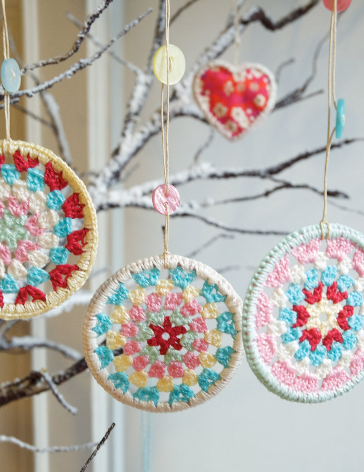 HALF PRICE SALE -Three Crocheted Granny Circle Christmas Decorations - Crochet Decorations - peaqo