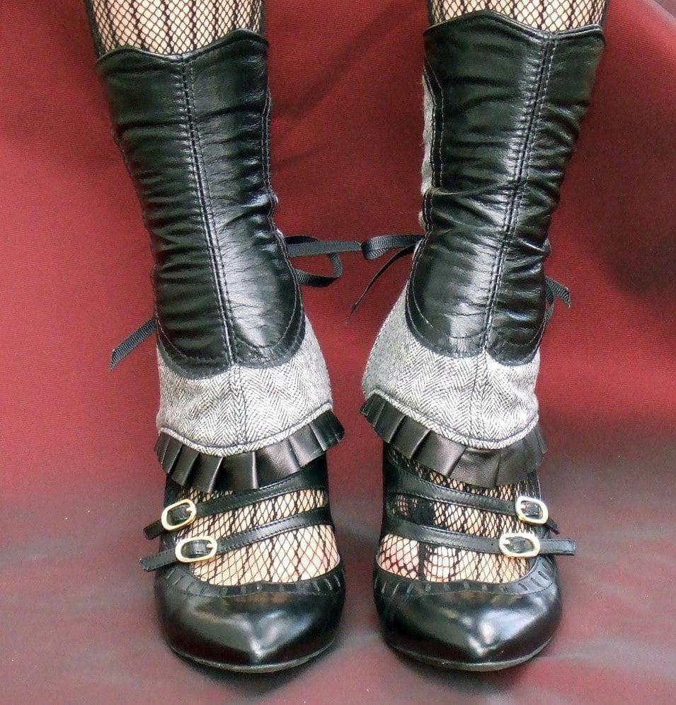 Leather/Herringbone Ruffled Spats