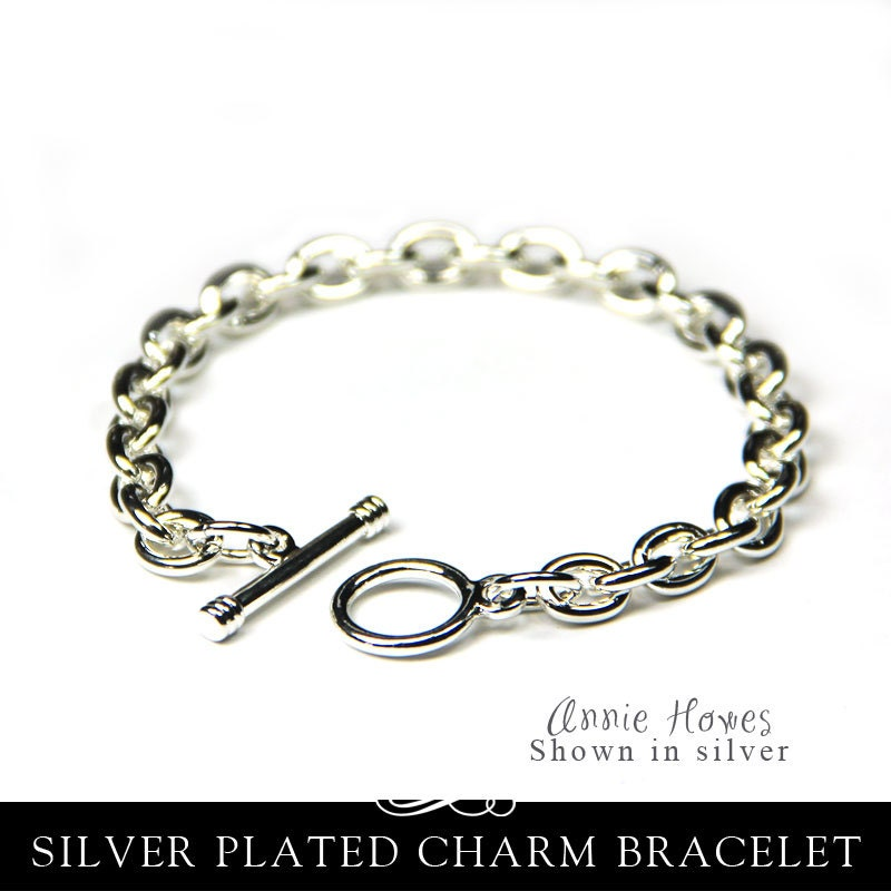 Silver charm bracelet link chain with toggle clasp in shiny silver