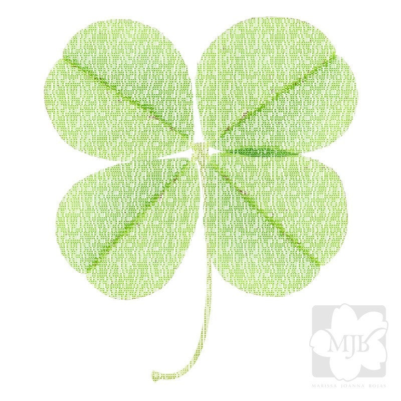 four leaf clover binary code print