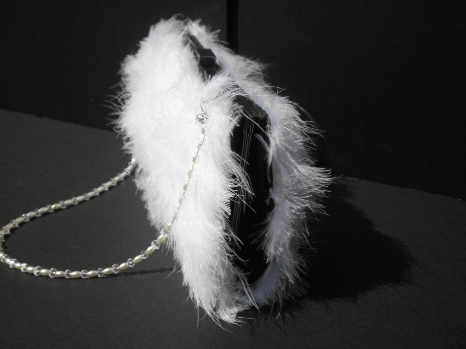 White Feather Purse Evening Bag