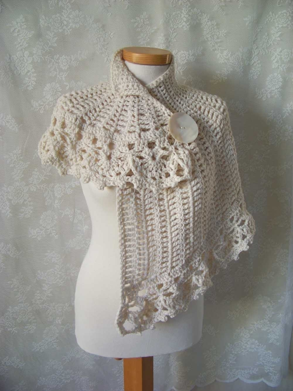 Knit and Crochet Capelet Pattern - Demure Flower Capelet Crochet