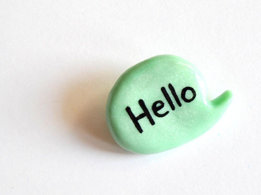 Pin brooch balloon polymer clay mint - madamaRobe